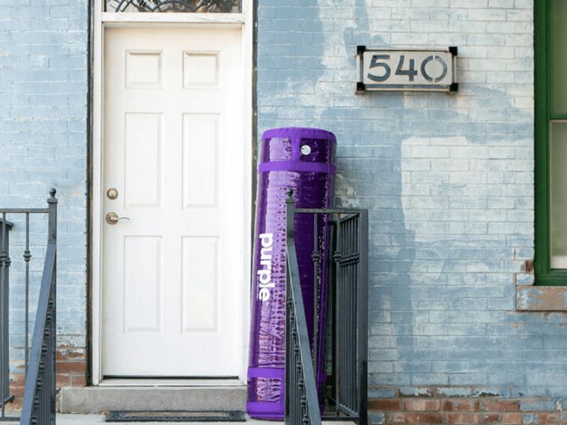 purple mattress rolled up
