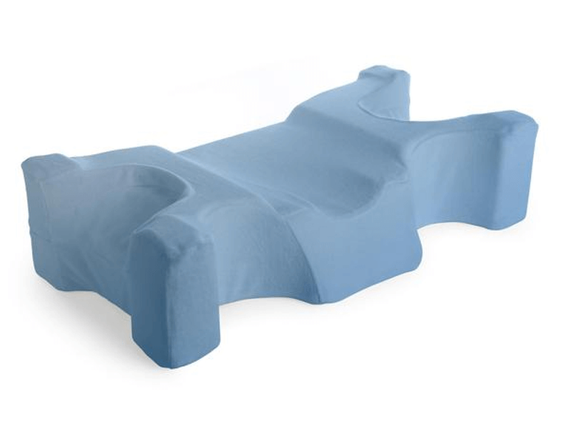 The unique ergonomic design of the JuveRest Sleep Wrinkle Pillow minimizes facial contact with both pillow and mattress in any sleeping position, lessening the tendency to form facial wrinkles.