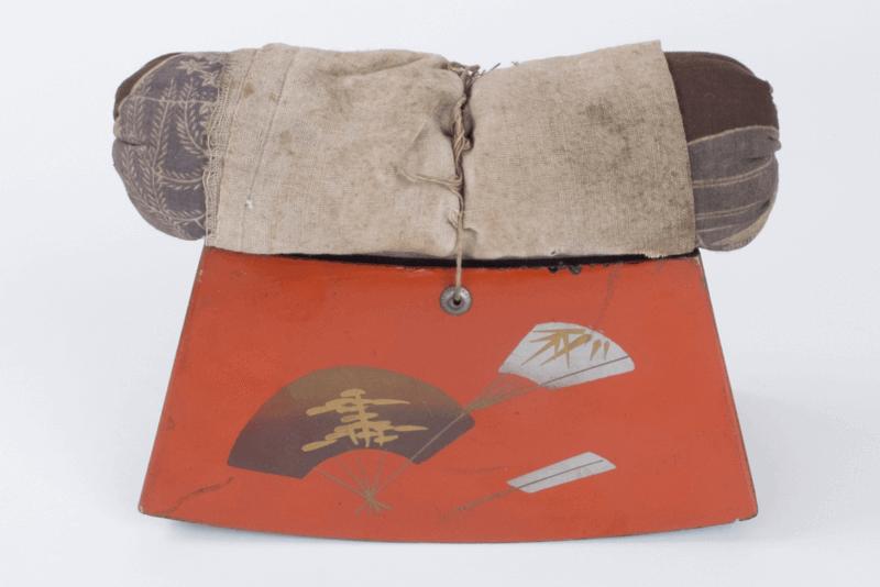 red and gray vintage takamakura geisha pillow