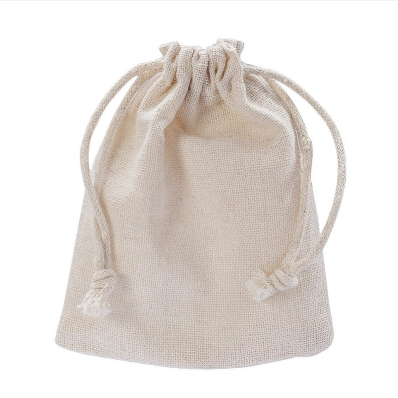small white cotton drawstring pouch