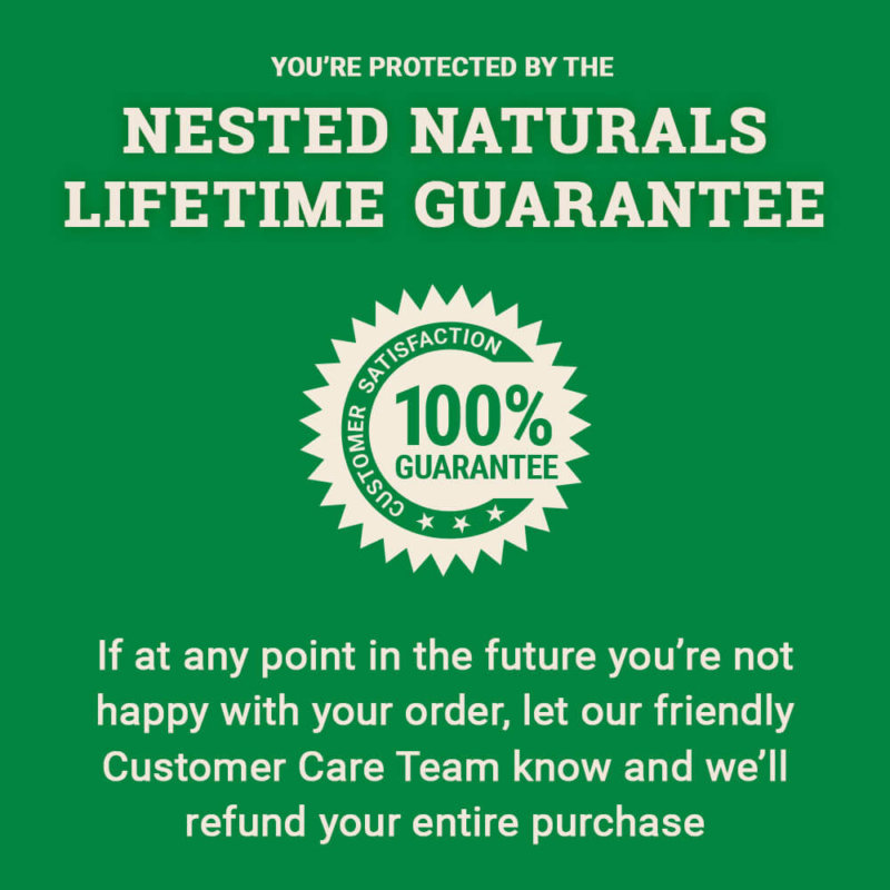 Nested Naturals lifetime guarantee text description on green background