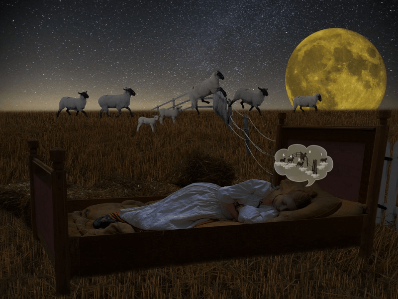 Sleeping young girl counting sheep