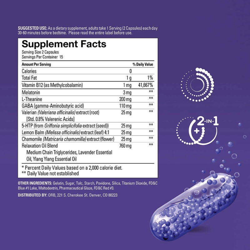 ORB Sleep Complex ingredients list and supplement facts