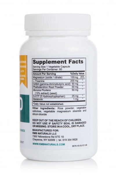 back of RMB Naturals Restorative Sleep Formula bottle showing supplement facts