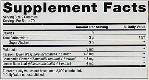 Vitafusion Melatonin supplement facts