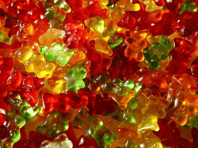 An assortment of Glycine-filled gummy candies