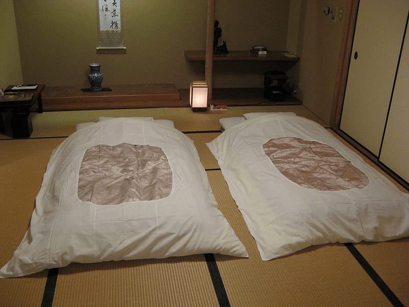 A pair of Japanese futon on tatami mats