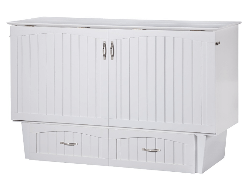 A white chest-style murphy bed