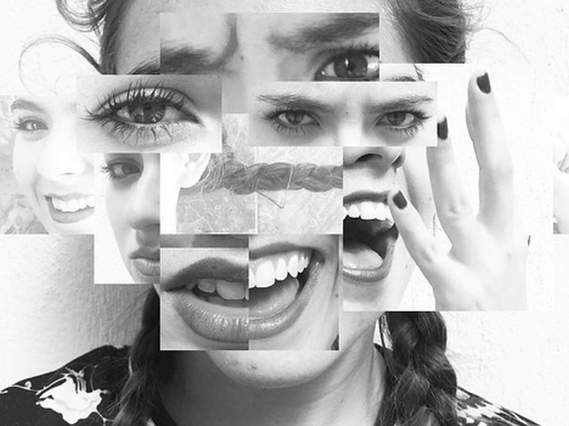 A collage demonstrating a bipolar person's shifting emotions