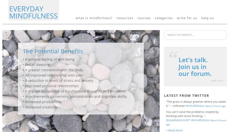 Everyday Mindfulness website landing page