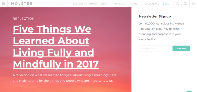 Holstee blog landing page