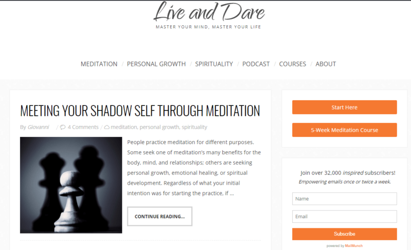 Live and Dare website landing page