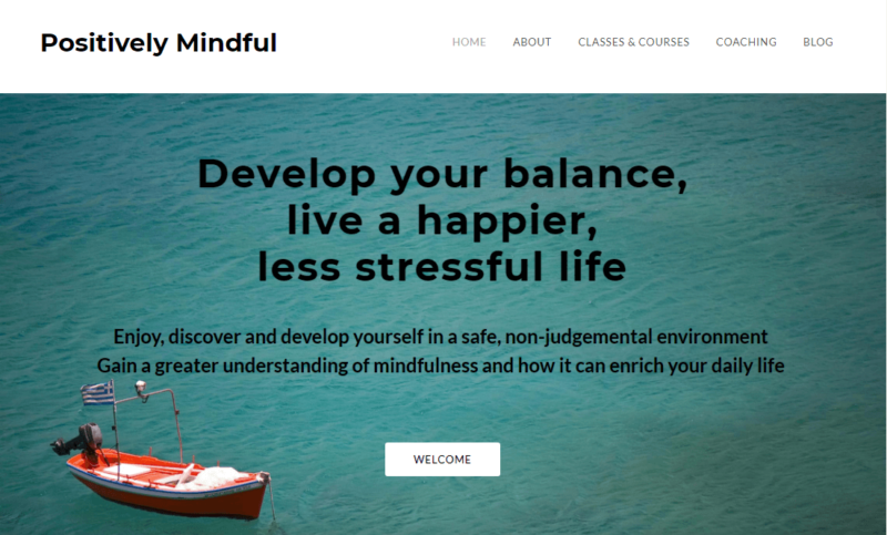 Positively Mindful website landing page