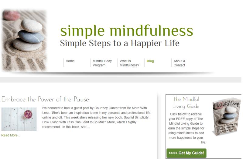 Simple Mindfulness website landing page
