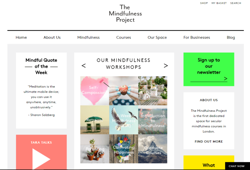 The Mindfulness Project website landing page
