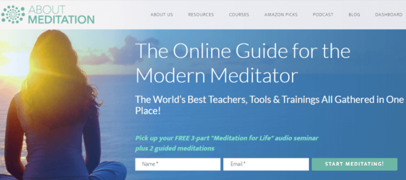 About Meditation website front page