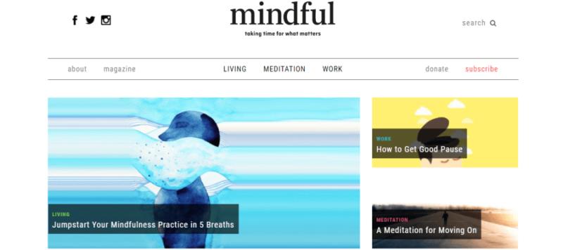 Mindful website landing page