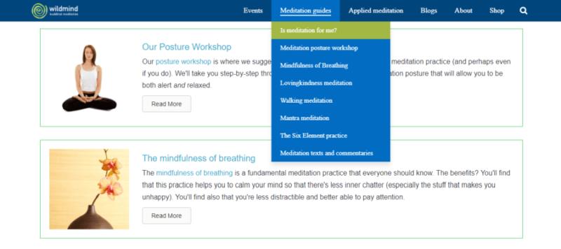 Wildmind Buddhist Meditation website front page