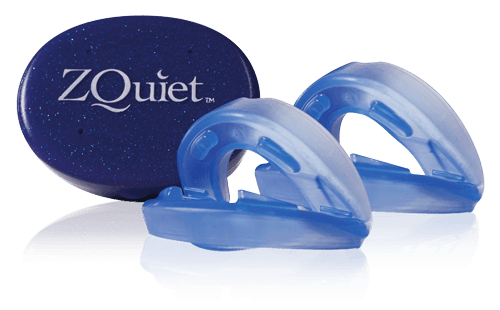 two ZQuiet mouthpieces for snoring with storage case