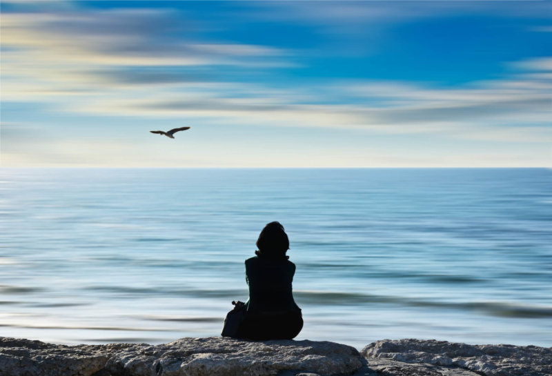 silhouette of person sitting on rocks overlooking ocean with bird in sky