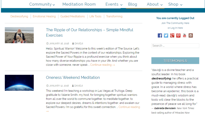 The Davidji blog on yoga meditation