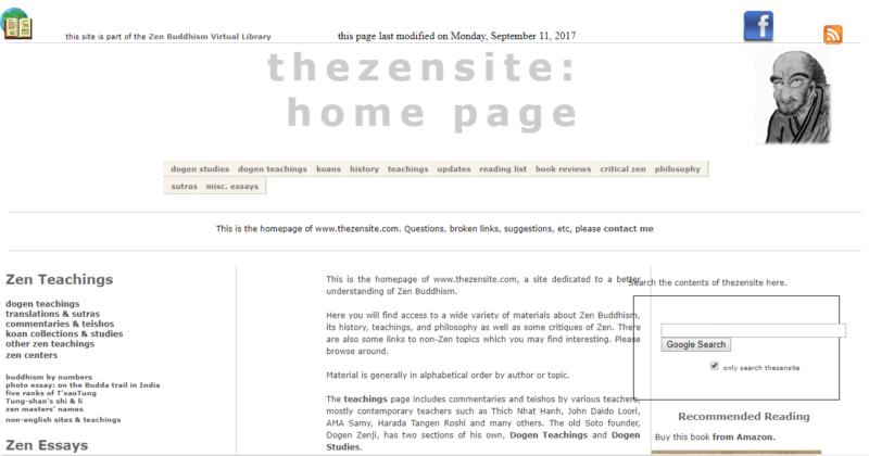 thezensite's landing page