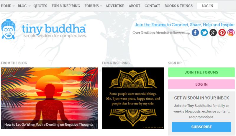 Tiny Buddha meditation blog landing page