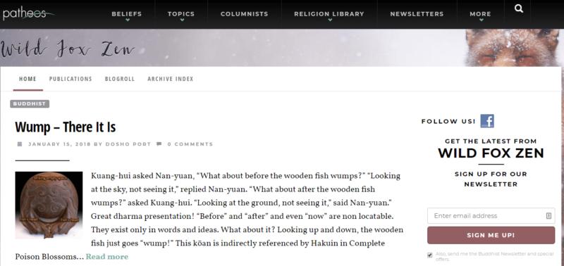 Website of buddhist meditation blog Wild Fox Zen