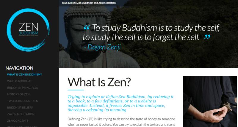 Zen Buddhism meditation blog landing page
