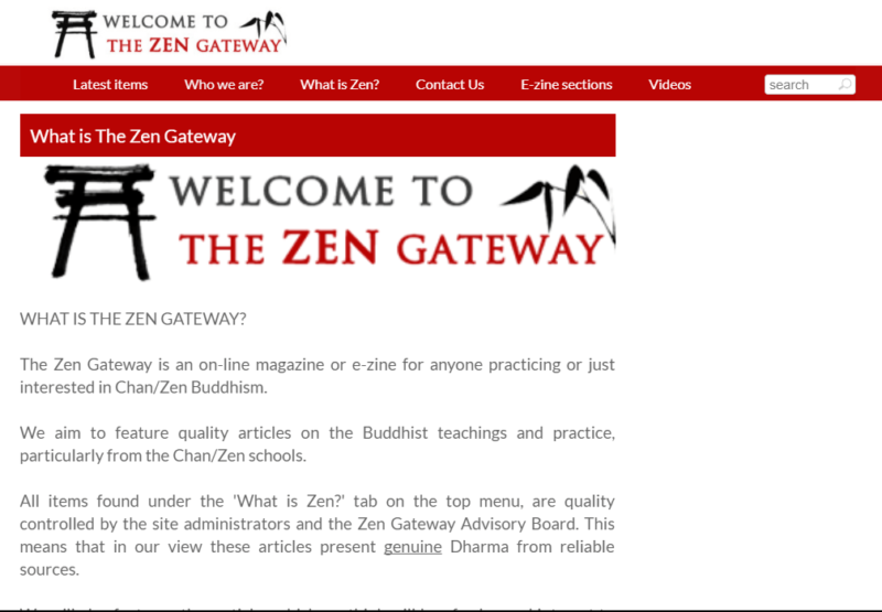 Landing page of Buddhism website The Zen Gateway