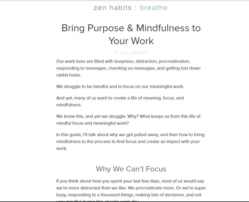 Landing page of Zen Habits meditation blog