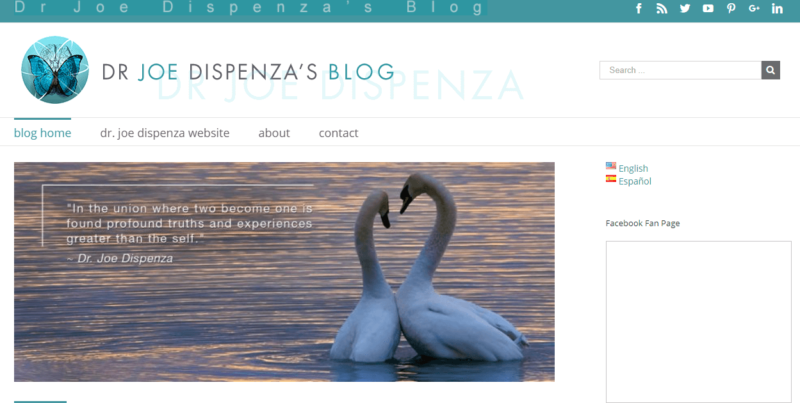 The homepage of Dr Joe Dispenza's blog