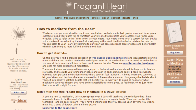 The homepage of the Fragrant Heart website