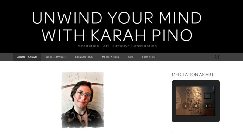 The homepage of Karah Pino's website