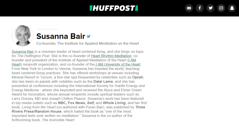 Susanna Bair's author page on HuffPost