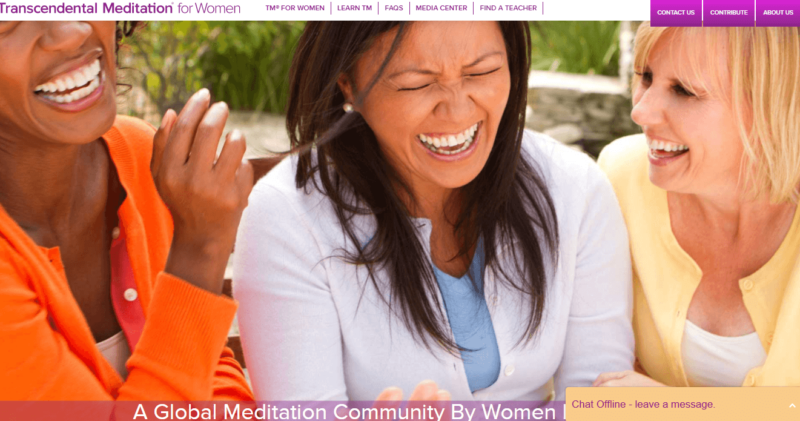 Landing page of the Transcendental Meditation for Women website