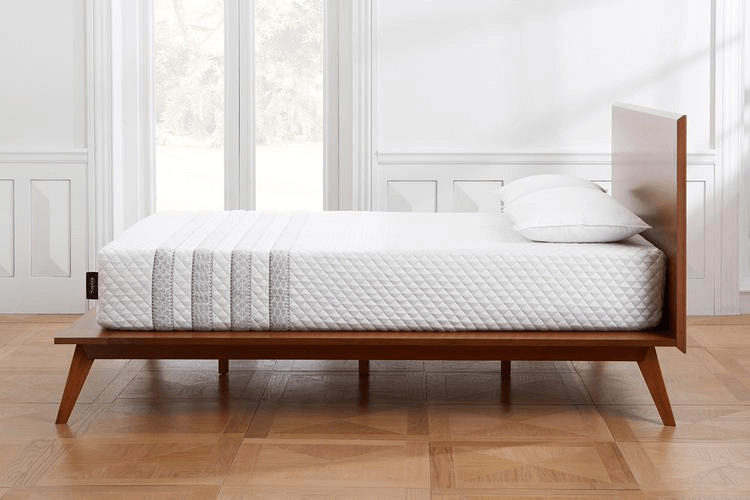 Leesa Sapira mattress side view on wooden bed frame