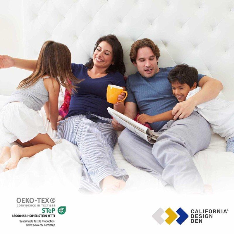 Family enjoying using California Design Den Everyday Luxury sheet set