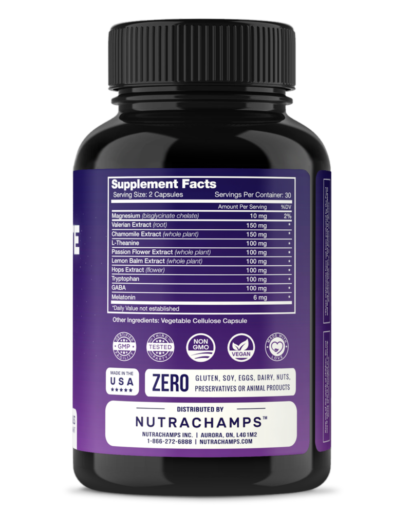 NutraChamps DreamRite bottle supplement facts label