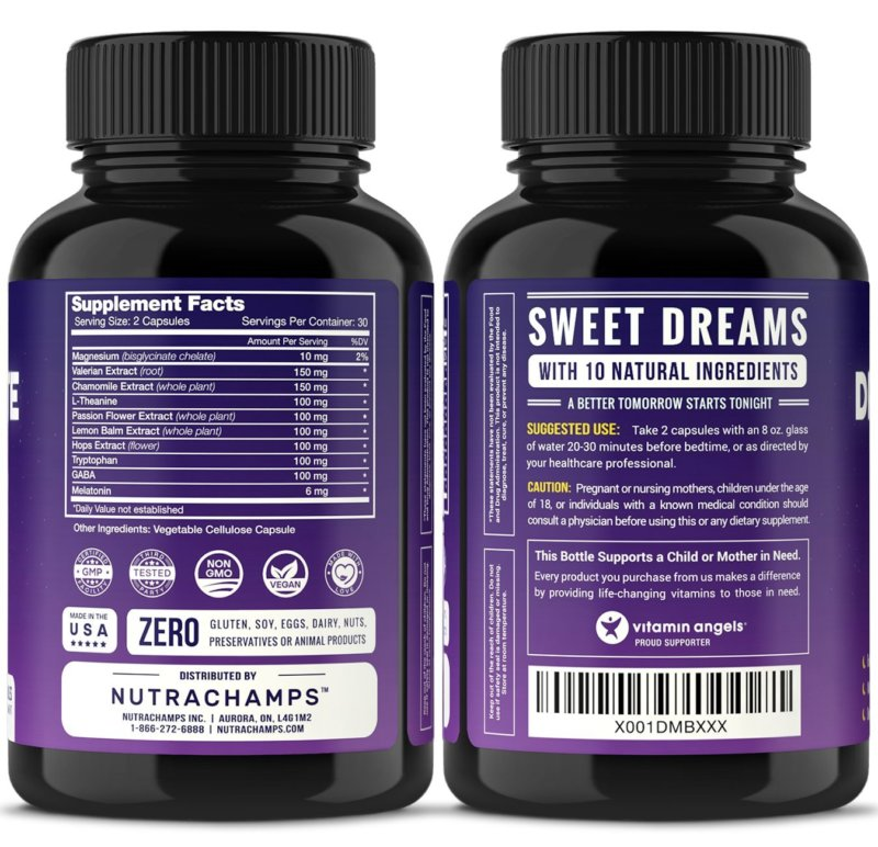 NutraChamps DreamRite bottle facts and instructions label