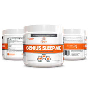 three Genius Sleep Aid bottles