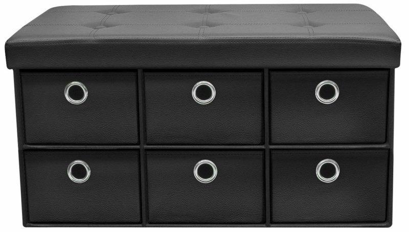 Sorbus Storage Ottoman Bench, Black